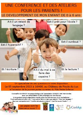 affiche developpement de mon enfant 0-6ans le Luc 05.09.15
